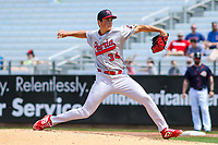 Peoria Chiefs pitcher Michael Brettell (34) delivers a pitch during a Midwest League game against the Cedar Rapids Kernels on May 26, 2019 at Perfect Game Field in Cedar Rapids, Iowa. Cedar Rapids defeated Peoria 14-1. (Brad Krause/Four Seam Images)