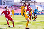 Jackson Irvine of Australia (R) in action during the AFC Asian Cup UAE 2019 Group B match between Palestine (PLE) and Australia (AUS) at Rashid Stadium on 11 January 2019 in Dubai, United Arab Emirates. Photo by Marcio Rodrigo Machado / Power Sport Images