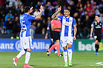 Luciano Neves (r) of Deportivo Leganes celebrates with teammate Diego Rico during their La Liga match between Deportivo Leganes and Real Madrid at the Estadio Municipal Butarque on 05 April 2017 in Madrid, Spain. Photo by Diego Gonzalez Souto / Power Sport Images