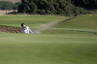 3rd October 2021; The Old Course, St Andrews Links, Fife, Scotland; European Tour, Alfred Dunhill Links Championship, Fourth round; Daniel Gavins of England plays from a bunker on the 14th hole during the final round of the Alfred Dunhill Links Championship on the Old Course, St Andrews