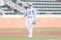 CHAPEL HILL, NC - FEBRUARY 27: Mac Horvath #10 of North Carolina plays third base during a game between Virginia and North Carolina at Boshamer Stadium on February 27, 2021 in Chapel Hill, North Carolina.