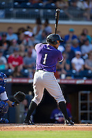 Juan Silva (1) of the Louisville Bats at bat against the Durham Bulls at Durham Bulls Athletic Park on August 9, 2015 in Durham, North Carolina.  The Bulls defeated the Bats 9-0.  (Brian Westerholt/Four Seam Images)