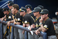 Wichita State Shockers Head Coach Todd Butler (right) watches a game against the Cal State Fullerton Titans at Goodwin Field on March 13, 2016 in Fullerton, California. Cal State Fullerton defeated Wichita State, 7-1. (Larry Goren/Four Seam Images)