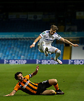 Leeds United's EzgjanAlioski hurdles the challenge from Hull City's George Honeyman<br /> <br /> Photographer Alex Dodd/CameraSport<br /> <br /> Carabao Cup Second Round Northern Section - Leeds United v Hull City -  Wednesday 16th September 2020 - Elland Road - Leeds<br />  <br /> World Copyright © 2020 CameraSport. All rights reserved. 43 Linden Ave. Countesthorpe. Leicester. England. LE8 5PG - Tel: +44 (0) 116 277 4147 - admin@camerasport.com - www.camerasport.com