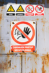 Do  Not Enter sign on a door in Hvar Island, Croatia