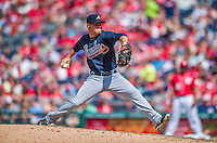22 June 2014: Atlanta Braves pitcher Shae Simmons on the mound against the Washington Nationals at Nationals Park in Washington, DC. The Nationals defeated the Braves 4-1 to split their 4-game series and take sole possession of first place in the NL East. Mandatory Credit: Ed Wolfstein Photo *** RAW (NEF) Image File Available ***