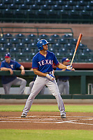 AZL Rangers center fielder Bubba Thompson (29) at bat against the AZL Giants on August 22 at Scottsdale Stadium in Scottsdale, Arizona. AZL Rangers defeated the AZL Giants 7-5. (Zachary Lucy/Four Seam Images)