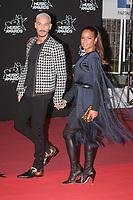 M Pokora et Christina Milian arrivent sur le Tapis Rouge / Red Carpet avant la Ceremonie des 19 EME NRJ MUSIC AWARDS 2017, Palais des Festivals et des Congres, Cannes Sud de la France, samedi 4 novembre 2017.