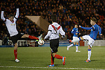 Lewis Macleod rattles in a shot
