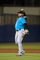 Miami Marlins shortstop Isan Díaz (1) throws to first base during a Major League Spring Training game against the Washington Nationals on March 20, 2021 at FITTEAM Ballpark of the Palm Beaches in Palm Beach, Florida.  (Mike Janes/Four Seam Images)