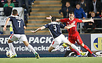 Joe Shaughnessey goes down in the box after an Ian Black tackle
