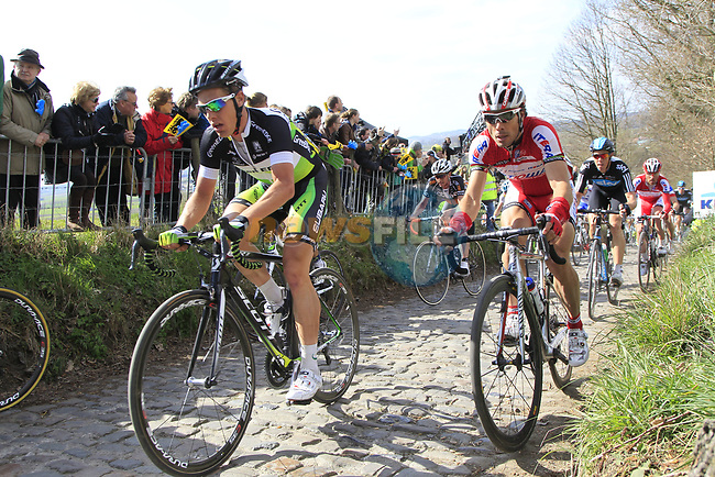 The peloton climbs Koppenberg during the 96th edition of The Tour of Flanders 2012, running 256.9km from Bruges to Oudenaarde, Belgium. 1st April 2012. <br /> (Photo by Eoin Clarke/NEWSFILE).
