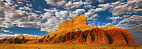 920950011 panoramic view -  wild horse butte and clouds near the entrance to goblin valley state park in north central utah
