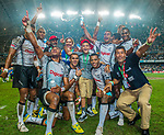 Fiji celebrate winning the Cup Final on Day 3 of the Cathay Pacific / HSBC Hong Kong Sevens 2013 on 24 March 2013 at Hong Kong Stadium, Hong Kong. Photo by Manuel Queimadelos / The Power of Sport Images