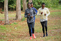 Edith Chelimo (KEN) (grey jacket) trains within the grounds of the official hotel [location not disclosed] and biosecure bubble ahead of the historic elite-only 2020 Virgin Money London Marathon on Sunday 4 October. The 40th Race will take place on a closed-loop circuit around St James's Park in central London. Monday 28th September 2020. Photo: Bob Martin for London Marathon Events<br /> <br /> For further information: media@londonmarathonevents.co.uk