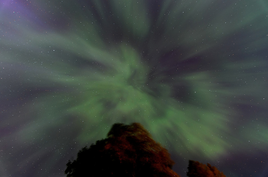 An overhead view of the night sky during an impressive aurora borealis display. Marquette, MI