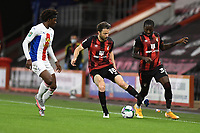 Harry Arter of Bournemouth appears to kick team mate Jordon Zemura of Bournemouth during AFC Bournemouth vs Crystal Palace, Carabao Cup Football at the Vitality Stadium on 15th September 2020