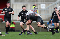 Tuesday 6th March 2019 | Ulster Schools Cup - Semi Final 1<br /> <br /> Ben Lavery is tackled by Connor McCaulay during the Ulster Schools cup semi-final between Campbell College Belfast and the Royal School Armagh at Kingspan Stadium, Ravenhill Park, Belfast, Northern Ireland. Photo by John Dickson / DICKSONDIGITAL