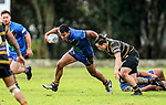 Jesse Keven of Howick breaks a tackle.  Fox Memorial Rugby League, Northcote Tigers v Howick Hornets, Birkenhead War Memorial Park Auckland, Saturday 22nd July 2017. Photo: Simon Watts / www.bwmedia.co.nz