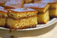 Montenegrin food speciality: sweet honey flavoured cake Durovic Jovo Winery, Dupilo village, wine region south of Podgorica. Vukovici Durovic Jovo Winery near Dupilo. Montenegro, Balkan, Europe.