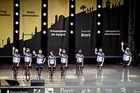New sponsor, new name, new shirt for Team Qhubeka NextHash at the pre Tour teams presentation of the 108th Tour de France 2021 in Brest at Le Grand Départ <br /> <br /> ©kramon