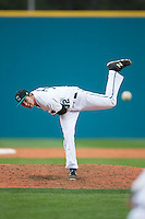 Coastal Carolina Chanticleers relief pitcher Brock Hunter (32) in action against the Bryant Bulldogs at Springs Brooks Stadium on March 13, 2015 in Charlotte, North Carolina.  The Chanticleers defeated the Bulldogs 7-2.  (Brian Westerholt/Four Seam Images)