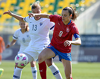 20190301 - LARNACA , CYPRUS : Finnish Jenny Danielsson (l) pictured in a duel with Czech Lucie Vonkova (r) during a women's soccer game between Finland and Czech Republic , on Friday 1 March 2019 at the AEK Arena in Larnaca , Cyprus . This is the second game in group A for Both teams during the Cyprus Womens Cup 2019 , a prestigious women soccer tournament as a preparation on the Uefa Women's Euro 2021 qualification duels. PHOTO SPORTPIX.BE   DAVID CATRY