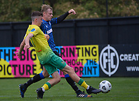 Luis Toomey (left) and Sam Dewar during the Central League football match between Miramar Rangers and Lower Hutt AFC at David Farrington Park in Wellington, New Zealand on Saturday, 10 April 2021. Photo: Dave Lintott / lintottphoto.co.nz