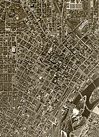 historical aerial photograph of Minneapolis, Minnesota, 1947