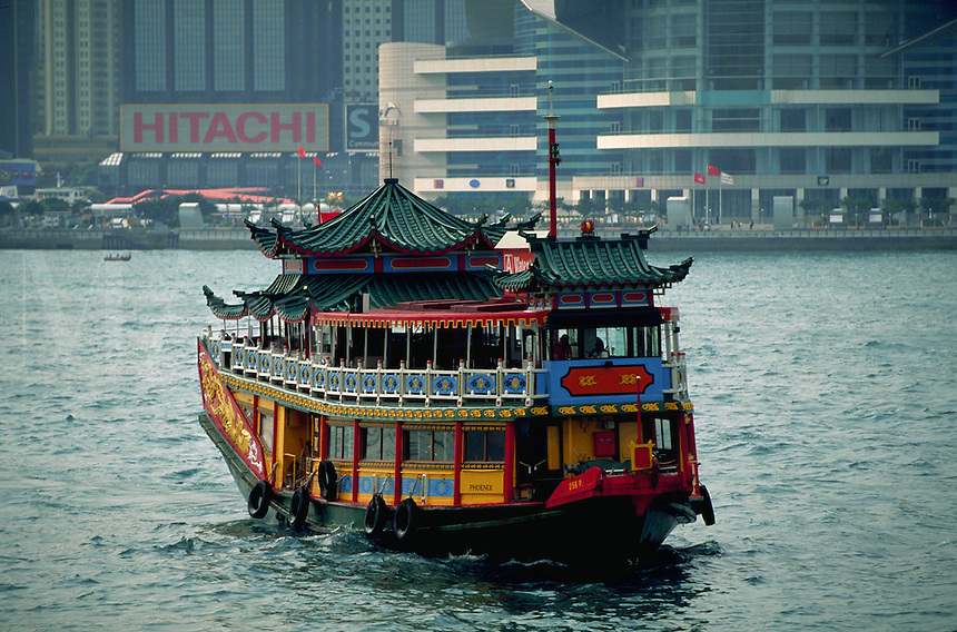 Ornamental ferry carries passengers between Kowloon and Hong Kong Island