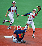 Dante DeFranco (West Raleigh, NC) fields the throw as Yu Inaba (Japan) steals second base during the World Series Championship Game between Japan and West Raleigh, NC at the Cal Ripken World Series in Aberdeen, Maryland on August 18, 2013. Japan defeated West Raleigh 11-1 in five innings