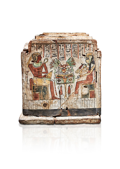 Ancient Egyptian shabti box, wood, Intermediate Period, 21st-22nd Dynasty (1076-746 BC), Thebes, Egyptian Museum, Turin. White background, <br /> <br /> Floor 1 room 10 of Museum - Among the 401 shabti found in this tomb were 36 overseerers, one for every 10 servants. These were maent to serve the deceased in the afterlife