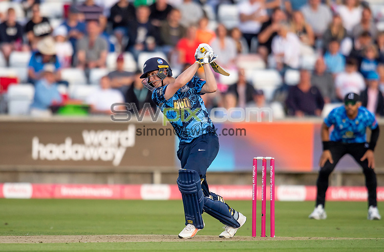 Picture by Allan McKenzie/SWpix.com - 24/08/2021 - Cricket - Vitality Blast Quarter Final - Yorkshire Vikings v Sussex Sharks - Emirates Durham ICG, Chester-le-Street, England - Viking's Tom Kohler-Cadmore hits out against the Sharks on his way to a half century.