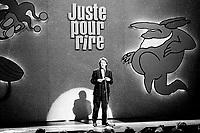 July 17,  1991 File Photo - Festival Juste Pour Rire 1991 - Gilbert Rozon onstage at Festival Juste Pour Rire 1991