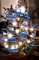 The Christmas tree decorated with antivirus masks in this first Christmas in the time of Pandemic due to the coronavirus (covid -19)Italy on November 26, 2020