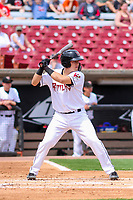 Wisconsin Timber Rattlers catcher KJ Harrison (24) at bat during a Midwest League game against the Lansing Lugnuts on May 8, 2018 at Fox Cities Stadium in Appleton, Wisconsin. Lansing defeated Wisconsin 11-4. (Brad Krause/Four Seam Images)