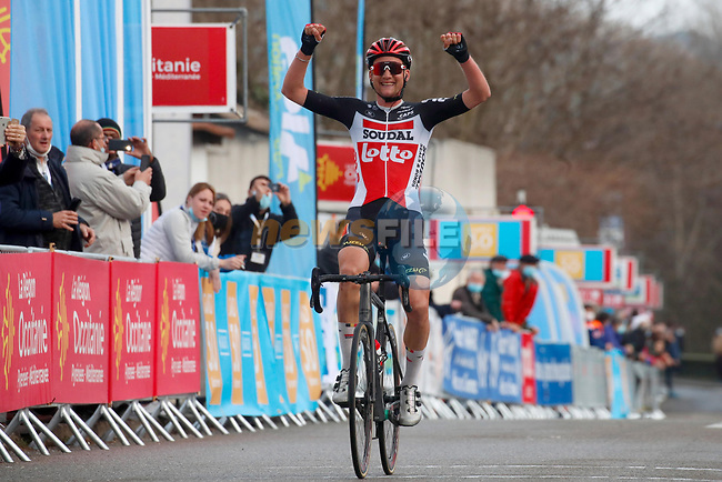 Tim Wellens secured Lotto Soudal's first victory of the season. The Belgian took an impressive solo victory at the end of Stage 3 of the 51st edition of the Etoile de Besseges,  starting and finishing in Bessèges, France. 4th February 2021<br /> Picture: Photo News | Cyclefile<br /> <br /> All photos usage must carry mandatory copyright credit (© Cyclefile | Photo News)