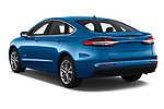 Car pictures of rear three quarter view of a 2019 Ford Fusion-Hybrid Titanium  4 Door Sedan angular rear