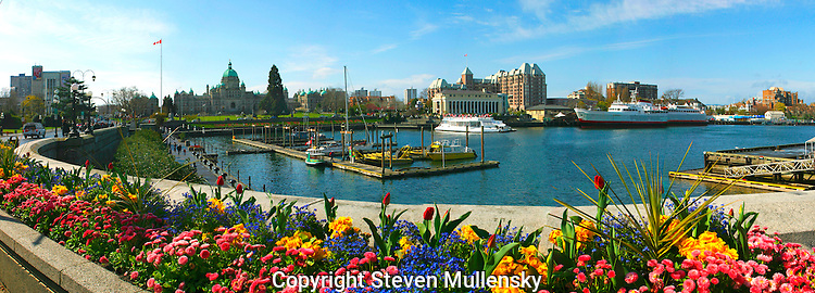 The inner harbor of downtown Victoria, British Columbia, Canada is bedecked with spring flowers. Victoria is the capital of British Columbia and the domed parliment building is seen in the background.