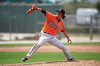 Baltimore Orioles pitcher Hideki Okajima (93) during a minor league Spring Training game against the Minnesota Twins on March 16, 2016 at CenturyLink Sports Complex in Fort Myers, Florida.  (Mike Janes/Four Seam Images)