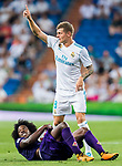 Toni Kroos of Real Madrid reacts during the Santiago Bernabeu Trophy 2017 match between Real Madrid and ACF Fiorentina at the Santiago Bernabeu Stadium on 23 August 2017 in Madrid, Spain. Photo by Diego Gonzalez / Power Sport Images