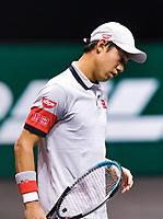 Rotterdam, The Netherlands, 3 march  2021, ABNAMRO World Tennis Tournament, Ahoy, First round match: Kei Nishikori (JPN).<br /> Photo: www.tennisimages.com/henkkoster