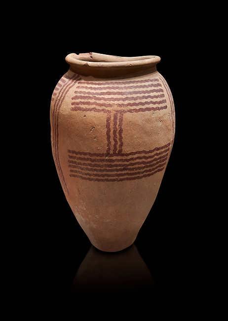 Ancient Egyptian decorated mari ware, class D, baked clay, Predynastic Period, Naqada II Protodynastic Period (3700-300 BC). Egyptian Museum, Turin. Black background,<br /> <br /> Mari was a new raw material used to make vases from Naqada II onwards. The material was a marl of rich clay found in some ancient Egyptian desert site which was pulverised and mixed with water. Typically the pottery had a rosy sinish when fired making a good background for painted motifs.