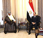 Egyptian President Abdel Fattah al-Sisi, meets with Sheikh Sabah Al-Khaled Al-Hamad Al-Sabah, Prime Minister of Kuwait in the Iraqi capital, Baghdad on August 28, 2021. Photo by Egyptian President Office