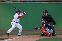 Potomac Nationals right fielder Rhett Wiseman (9) at bat in front of catcher Austin Rei and umpire Thomas Roche during the first game of a doubleheader against the Salem Red Sox on May 13, 2017 at G. Richard Pfitzner Stadium in Woodbridge, Virginia.  Potomac defeated Salem 6-0.  (Mike Janes/Four Seam Images)