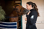 DEL MAR, CA - OCTOBER 31: Cherie DeVaux with Lady Eli, owned by Sheep Pond Partners and trained by Chad C. Brown, after morning workouts at Del Mar Thoroughbred Club on October 31, 2017 in Del Mar, California. (Photo by Alex Evers/Eclipse Sportswire/Breeders Cup)