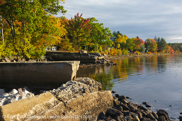 Lake Massabesic in Auburn, New Hampshire on a cloudy autumn day. Located in Manchester and Auburn, this lake covers over 2,500 acres, and it is the drinking water supply for the Manchester area.