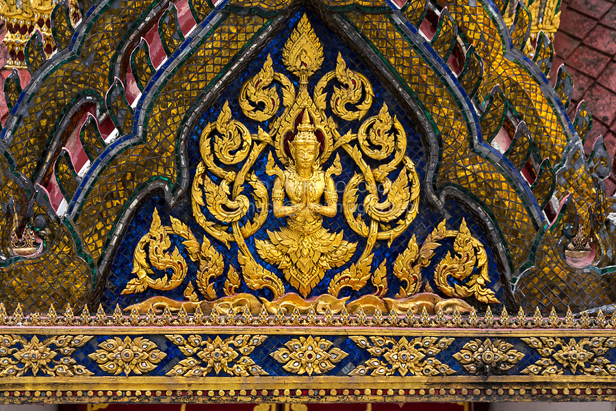 Bangkok, Thailand.  Detail of the Phra Mondop External Decoration.