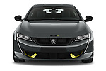 Car photography straight front view of a 2021 Peugeot 508-PSE PSE-PHEV 5 Door Hatchback Front View