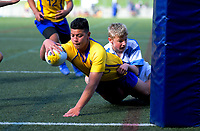 Action from the 2019 Hurricanes Secondary Schools Under-14 Boys' Rugby Tournament match between St Patrick's College Silverstream and Rongotai College at Wakefield Park in Wellington, New Zealand on Monday, 2 September 2018. Photo: Dave Lintott / lintottphoto.co.nz